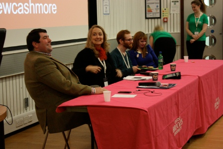 Matthew Cashmore, panel chair Samantha Missingham, Alex Ingram and Lindsey Mooney on the closing panel (SYP)